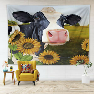 Funny Painting Cow Heifer Sunflowers Tapestry Wall Hanging for Living Room Dorm