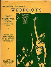 >Original/RARE 1936-37 OREGON DUCKS BASKETBALL MEDIA GUIDE with TALL FIRS Stars!