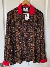 TOPMAN Size S Long Sleeve Snake Print Shirt, BNWT, RRP £34, Red Cuffs, Collar
