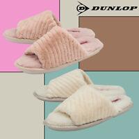 DUNLOP Donna Invernali Morbide Peluche Memory Foam Pantofole Aperte in Punta