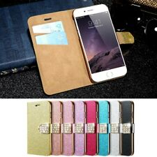 Glitter Bling Leather Case Magnetic Flip Wallet Cover For iPhone X 7 Samsung S8