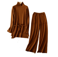 Chic Womens Cashmere Wool Tops+Wide Leg Pants Sets 2pcs Suits Loose Warm Sets