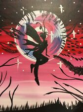 Painting Canvas Wall Art Fairy Fairies Fly Red Pink Moonlight Sky Stars