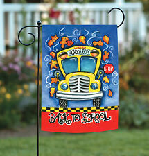 NEW Toland - Back to School - Autumn Fall Leaves Yellow Bus Garden Flag