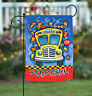 Toland Back to School 12.5 x 18 Autumn Fall Leaves Yellow Bus Garden Flag