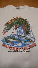 Vtg. DIEGO GARCIA US NAVAL SUPPORT FACILITY INDIAN OCEAN XL WHITE T-SHIRT USMADE