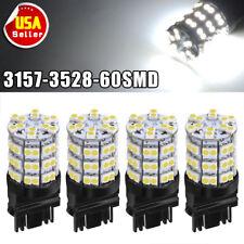 4PCS Pure White 3157 60SMD DRL 3157A 4114 4157NA Backup Reverse LED Light Bulbs