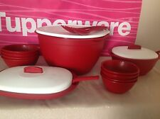 Tupperware 14 Piece Soup & Salad Bowl Set! Mixing Spoon & Fork, Container To Go