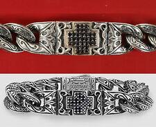 $1,300 SCOTT KAY 7.5 UnKaged Black Sapphire Cross Bracelet Bangle Men Cool Gift