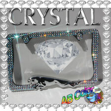 CRYSTAL  BLING  JAGUAR 3D CHROME METAL LICENSE PLATE FRAME  /  AB COLOR
