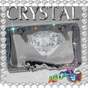 CRYSTAL  BLING  JAGUAR 3D CHROME METAL LICENSE PLATE FRAME  /  AB COLOR