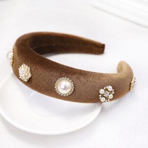 Velvet Pearl Rhinestone Padded Headband for Women Solid Sponge Crystal Hairband