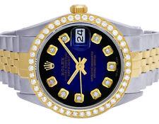 Rolex Datejust Two Tone 18K/ Steel 36MM Blue Vignette Dial Diamond Watch 2.5 Ct