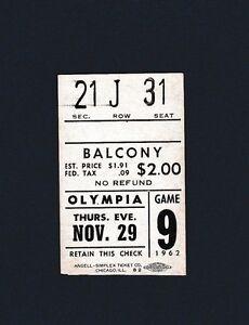 Red Wings vs Rangers 1962 hockey ticket stub- Gump Worsley shutout