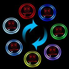 V2 Switchable 7 Colors LED Car Cup Holder Bottom Pad Atmosphere Light For DODGE