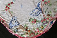 Antique French Intricately Embroidered Blue Birds Flowers Windmill Table Mat