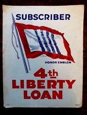 WWI FLAG US TREASURY DEPT STILL IMAGE SUBSCRIBER HONOR EMBLEM 4TH LIBERTY LOAN