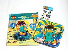 ~~~PHINEAS AND FERB~~~1-PARTY SET  PLATES, DECO KIT & TATTOOS - PARTY SUPPLIES