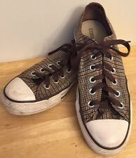 CONVERSE ALL STAR LOW Brown Canvas Plaid  Sneakers Mens Size 7 Laces Womens 9