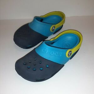 Kid's Crocs Classic Clog Sz Child 13(C13) 2 Blue Lime Green heel strap