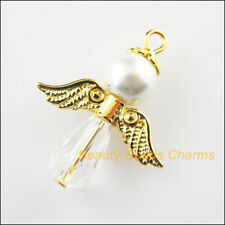 6Pcs Gold Plated Wings Dancing White Angel Charms Pendants 23x29.5mm