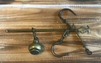 Vintage Antique Brass Hanging Balance Beam Scale with Hooks Store Farm