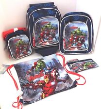Avengers Boy's Detachable Trolley, Backpack, String-Bag, Lunch-Bag, Pencil Case