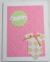 Stampin Up! Handmade card SWEET BABY Bodysuit Green Pink w/envelope embossed bow