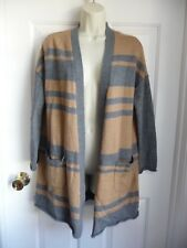 Cynthia Rowley L Open Front Cardigan Sweater Grey Brown Striped MerinoWool Blend
