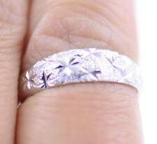Argento 925 satinato anello banda irregolare con il modello di stella, UK Size O