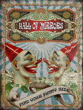 """HALL OF MIRRORS """"SEE YOUR FUNNY SIDE""""  VINTAGE FAIRGROUND METAL SIGN:HOME DECOR"""