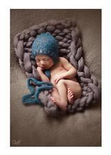 Baby trama grossa marrone grigio peltro lavorato a maglia COPERTA Neonato Fotografia Prop Baby