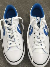 Ladies White/Blue Leather Converse Lace Up Trainers - Size 5