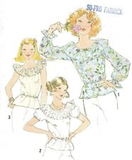 Vintage Women's Hippie BOHO Ruffle Shoulder Blouse Top Sewing Pattern UNCUT