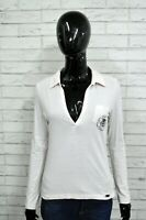 Polo Donna LIU JO M Maglia Manica Lunga Cotone Bianca T-shirt Jersey Slim