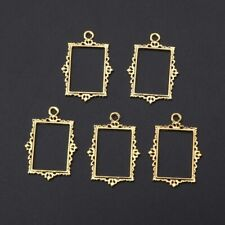 5Pcs DIY Vintage Hollow Album Frames Pendant Open Bezel Setting UV Resin Jewelry