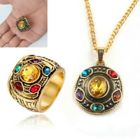 Thanos Infinity Stones Necklace Metal Pendant Chain POWER RING Marvel Avengers