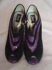 STRUTT Couture UK 4 EU 37 Brevetto Viola in Pelle Scamosciata Nero RRP £ 265.00