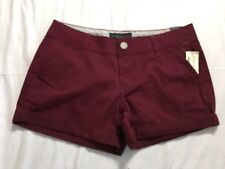 Aeropostale Midi Shorts Women's  Size 4 Maroon Cuffed Mini Short Stretch NWT