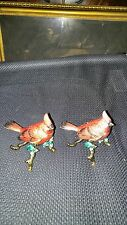 2 CARDINAL Trinket Boxes Figurine  Jeweled Swarovski Crystals MIB