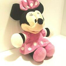 "Disney Plush Minnie Mouse Pink Polka Dot Dress Bow 12"" Long 9"" Sitting Stuffed"