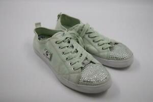 G By Guess Women's Mint Green Suede Sneakers 8.5 M Rhinestone Shoes Low Top