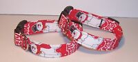 Wet Nose Designs Frosty The Snowman Dog Collar on Red Retro Christmas Winter