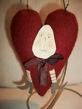 "Stuffed Plush Fabric Humpty Dumpty Red Heart Ornament Peg Or Knob Hanger 5.75"""