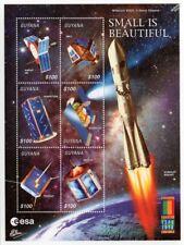SMALL IS BEAUTIFUL ESA Spacecraft Satellites Space Stamp Sheet #1 (2000 Guyana)