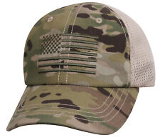 MultiCam Mesh Back Operator Cap with US Flag Military Hat Army Camo Rothco 9955