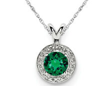 Lab Created Emerald Pendant Necklace in Polished Sterling Silver with Cha