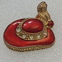 Red Hat Enamel Brooch Pin Gold Tone Feather Glitter Figural Costume Jewelry
