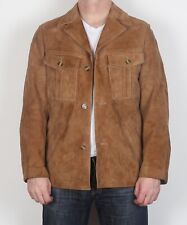 "Suede Leather fitted Jacket coat Small 36"" 38"""" Brown 70's  (G1B)"