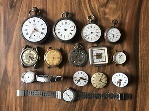 Lot de montres et montres à gousset sans verre et mouvement AUREX, LATITUDE...